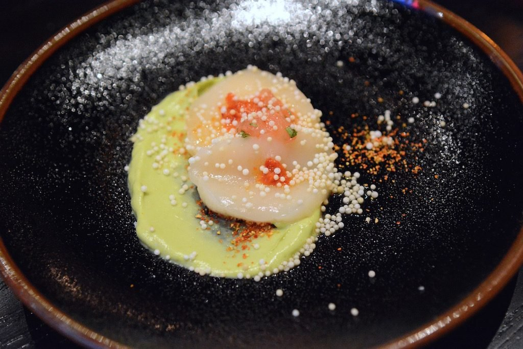 Diver scallop with grapefruit kosho.