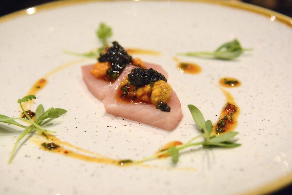 Hamachi crudo with uni and caviar.