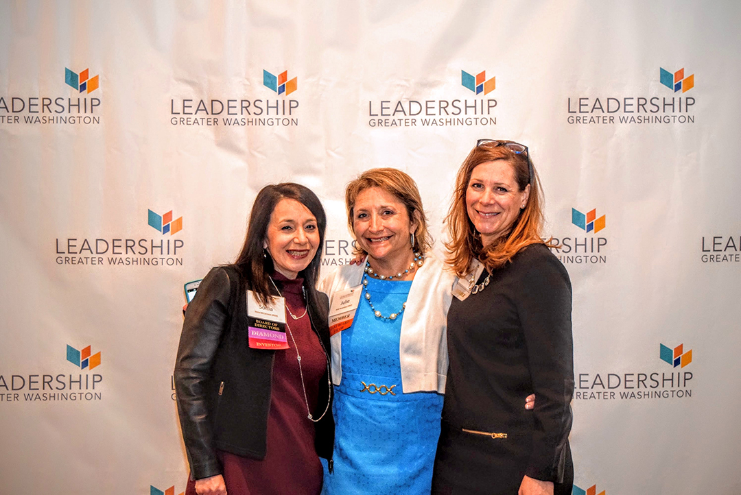 Sonia McCormick ('10) of PNC Financial Services, Julie Rosenthal ('02) of JR Communications, and Amy Marcanero ('14) of Junior Achievement of Greater Washington.