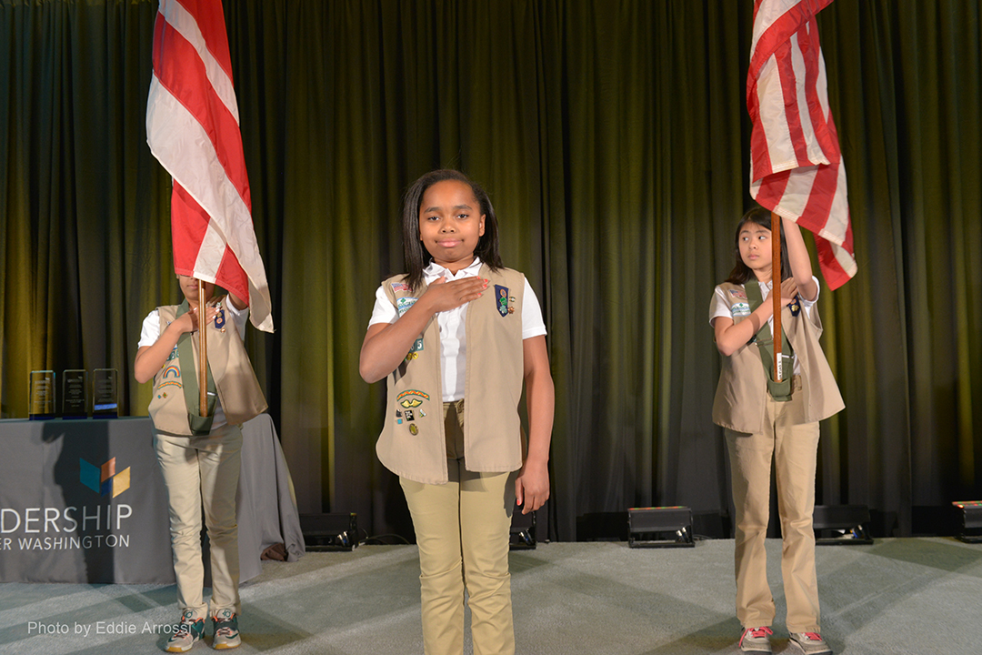 Representing Troop 5285 of the Girl Scouts Nation's Capital: D'yana Pickett, Amaya Maxwell and Chuyun Emily Arbieto.