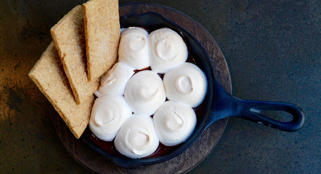 "Bonfire serves fiery fare like this marshmallow ""campfire skillet."" Photography by Evy Mages."