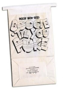 """Dick Bangham's """"Boogie Til You Puke"""" motion-sickness bag--a promotional item for Warner Bros."""