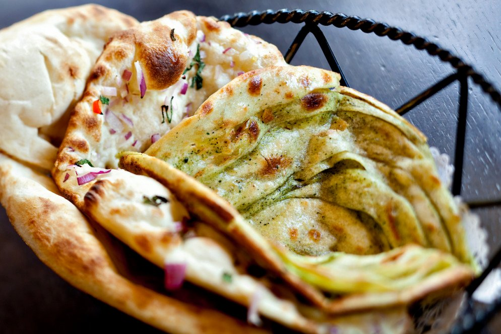Pillowy naan breads from Rasika West End, which serves a special holiday brunch.