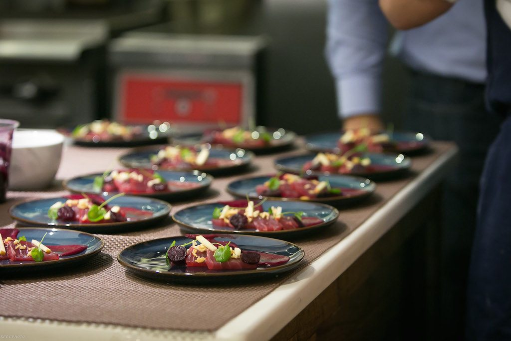 Tuna sashimi with beats, apples and a tuffle vinaigrette from a Gravitas pop-up at Mess Hall. Photograph by Ronald Flores