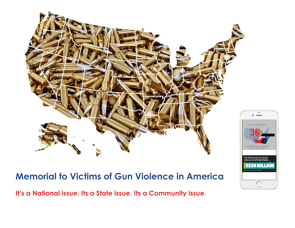 The gun-violence memorial would have an accompanying app.