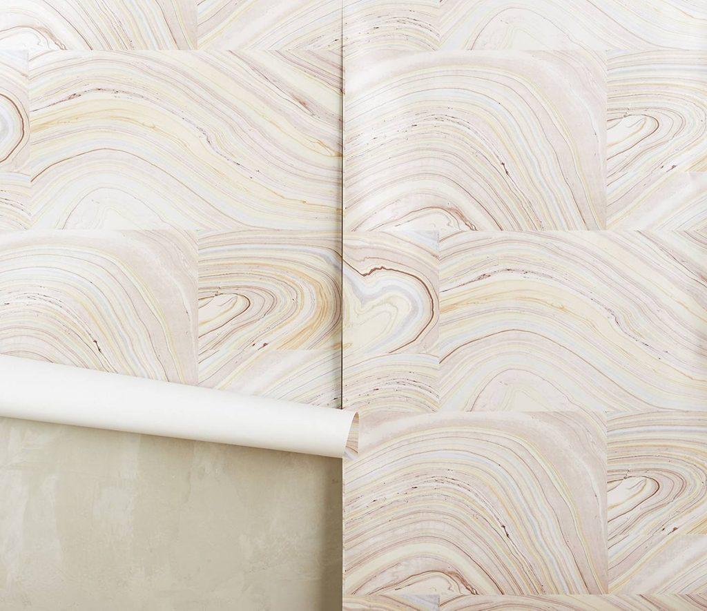 bathroom decor accessories Anthropologie-cross-grain-wallpaper
