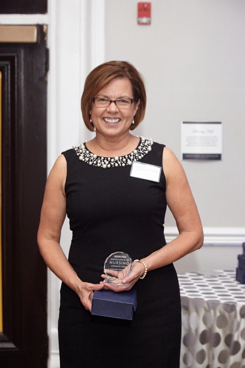 Darlene Vrotsos, a nurse at Virginia Hospital Center, received the Washingtonian Excellence in Nursing Award for nursing leadership.
