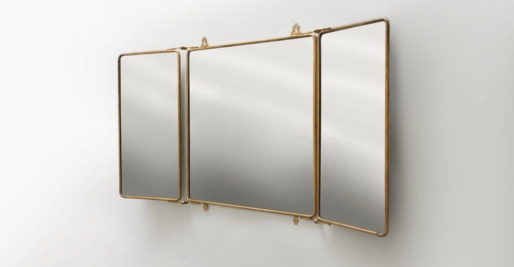 bathroom decor accessories Waterworks-Daphne-Metal-Trifold-Mirror