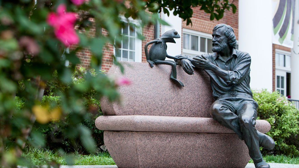 DC memorials. Outside of the University of Maryland's Stamp Student Union you'll find Jim Henson and Kermit the Frog. Photograph by John T. Consoli/University of Maryland.