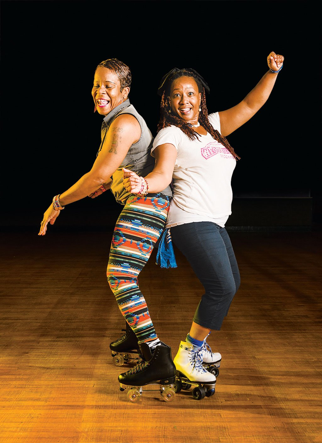 Roller Skating. Sharon Kimpson and Lora Fitzgerald.