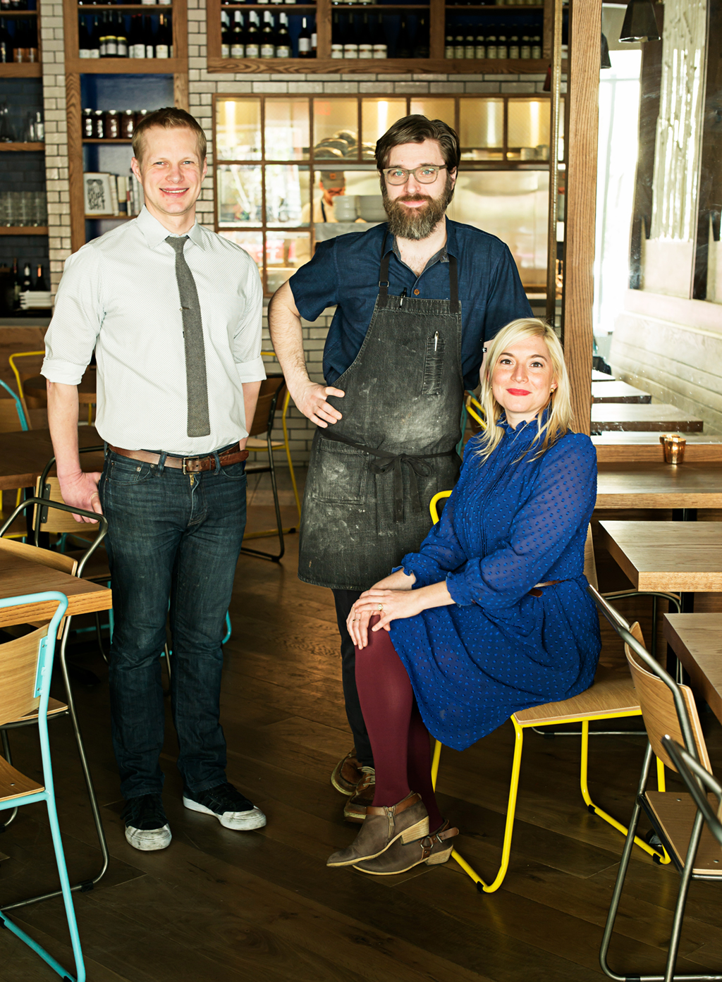 Left to right, Tail Up Goat owners: Bill Jensen, owner and beverage director; Jon Sybert, owner and chef; Jill Tyler, owner and service director. Photograph by Scott Suchman.