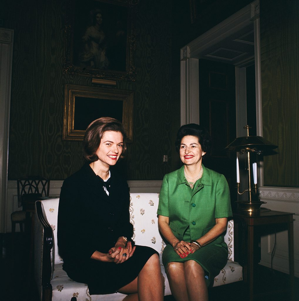 Nancy Dickerson, at left with Lady Bird Johnson, was a pioneering journalist. Her son–raised in McLean and educated at Sidwell–can't use the outsider schtick favored by some competitors. Photograph by Bettmann/Getty Images. (July 2016/Chesapeake Bay)