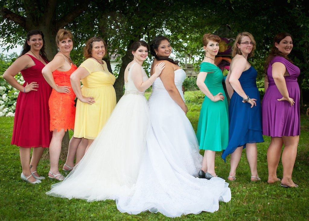 Just in time for pride two virginia brides marry in an epic rainbow 6 10 16 rainbow same sex vineyard wedding junglespirit