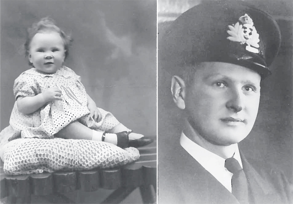 Bonnie Fogel at age one in 1945, after her father (right) went to war and disappeared. Until her thirties, Fogel knew her father only from a photo. Photographs courtesy of Bonnie Fogel.