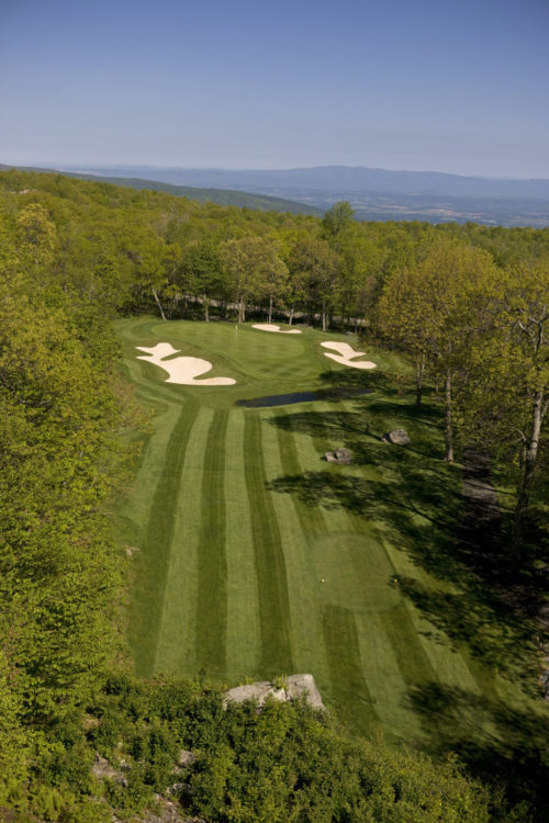 Devils Knob 17 Aerial looking down to fairway to green 4