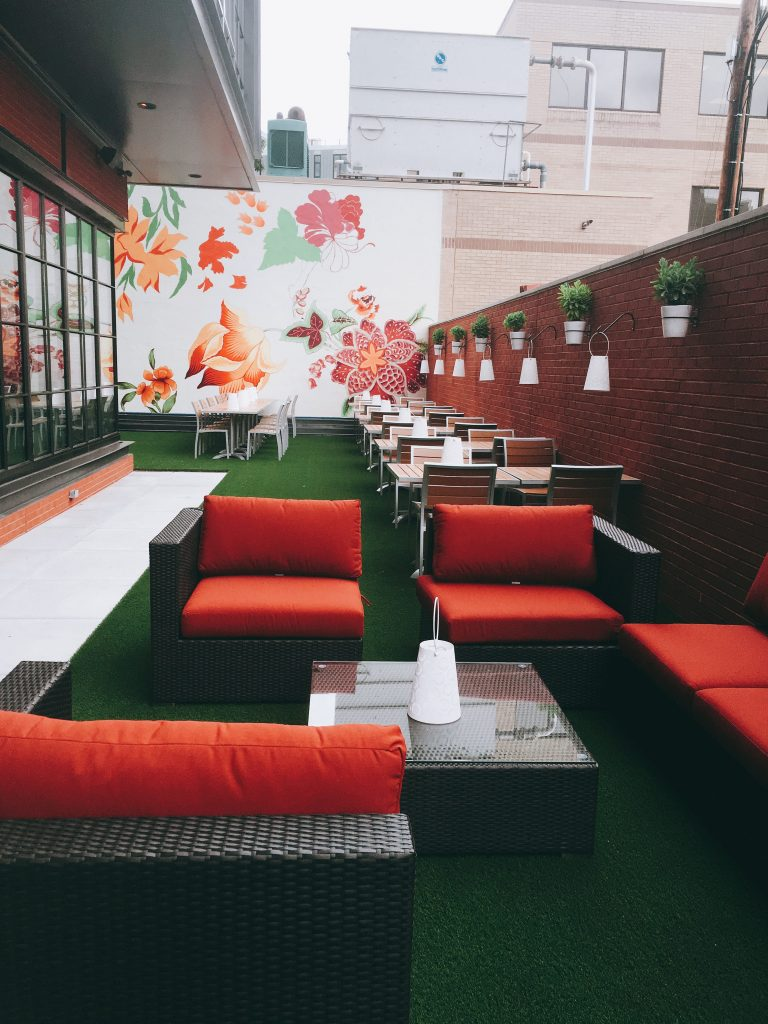 The 40-seat outdoor patio is designed to be a respite from Shaw's urban landscape.