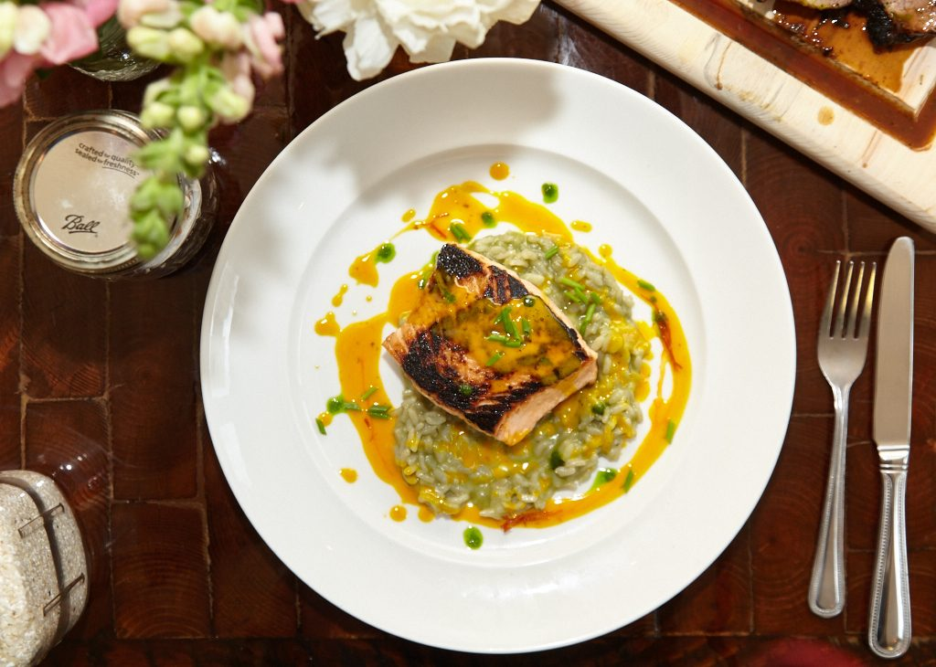 Chef Marty Anklam's menu includes seasonal dishes like grilled salmon with citrus vinaigrette.