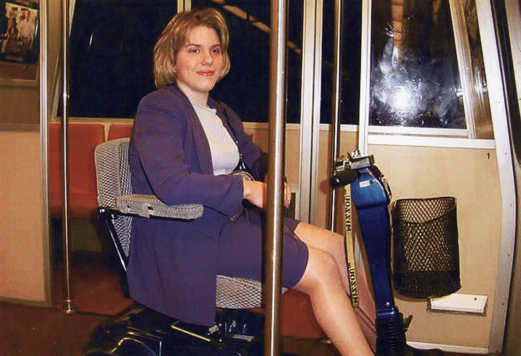 Watts interned in Washington during college–above, riding Metro to work in 2001–and moved here after graduating college. Photograph courtesy of Jamie Watts and Carolyn Gregory.