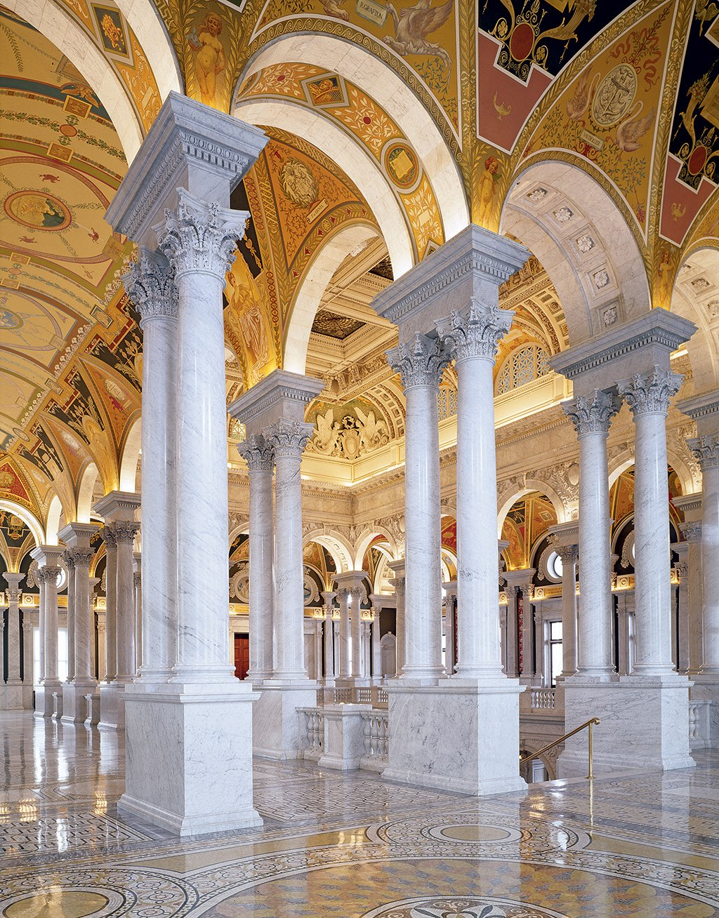 Soaring columns and exquisite marble floors make the Library of Congress especially photo-worthy. Photo by Carol M. Highsmith.