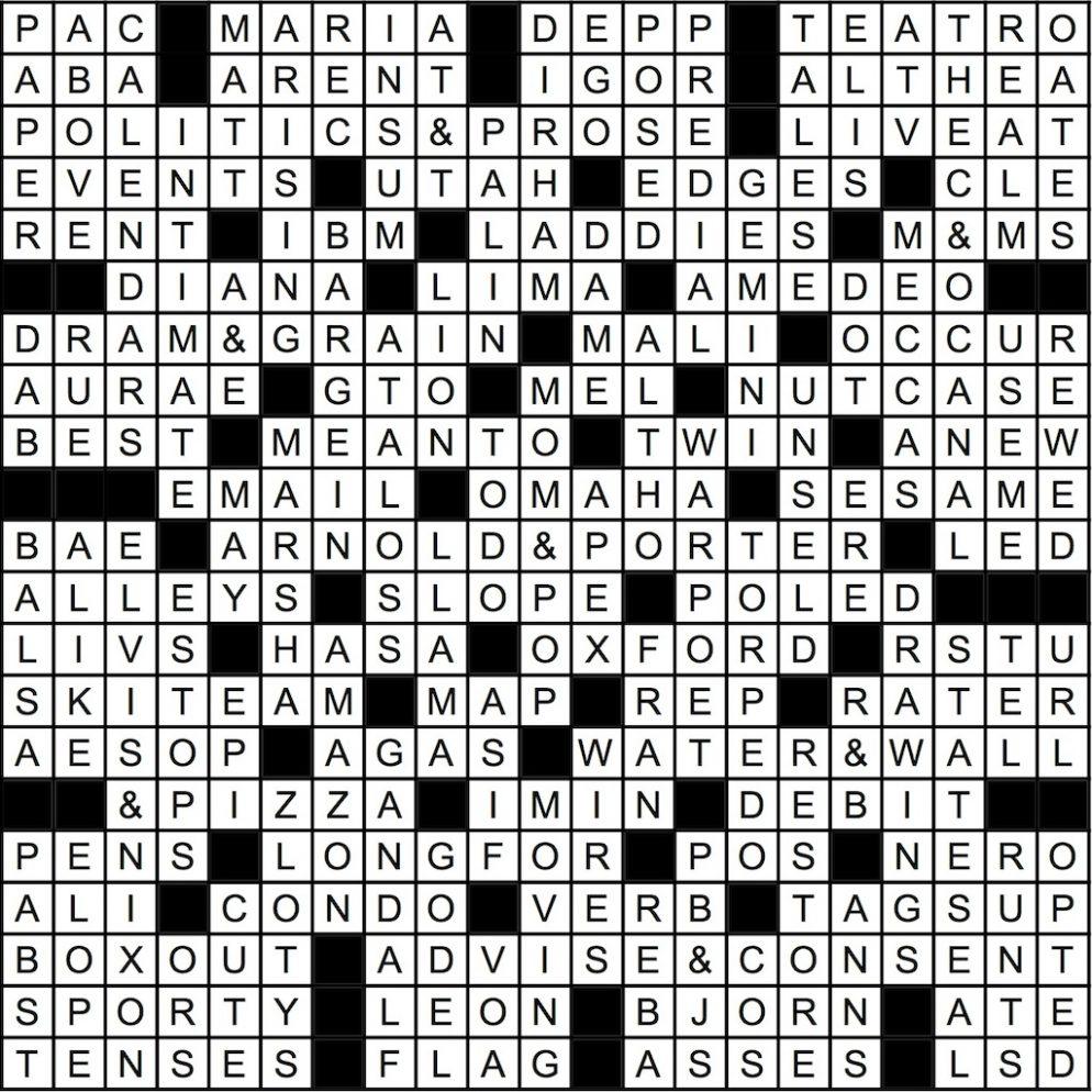 June 2016 Crossword Answer Key