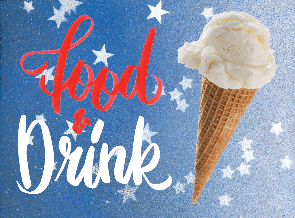 Best of Washington. Typography and flag pattern by Brian Kaspr; ice cream via iStock.