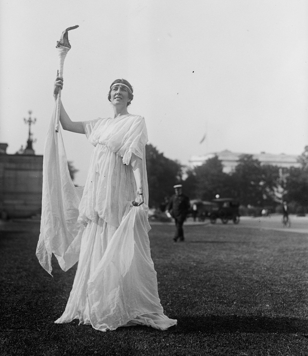 A woman in costume for Fourth of July celebrations in 1918. Photograph via Harris & Ewing Collection (Library of Congress).