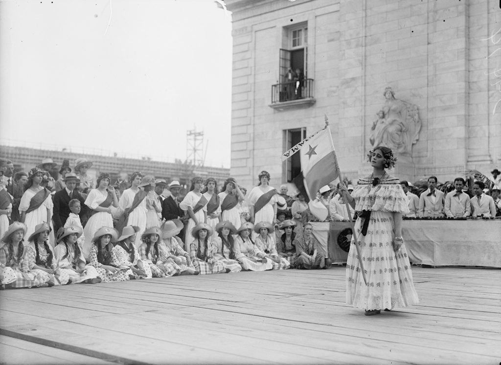 A group representing Panama during the 1918 Fourth of July celebration in DC. Photograph via Harris & Ewing Collection (Library of Congress).