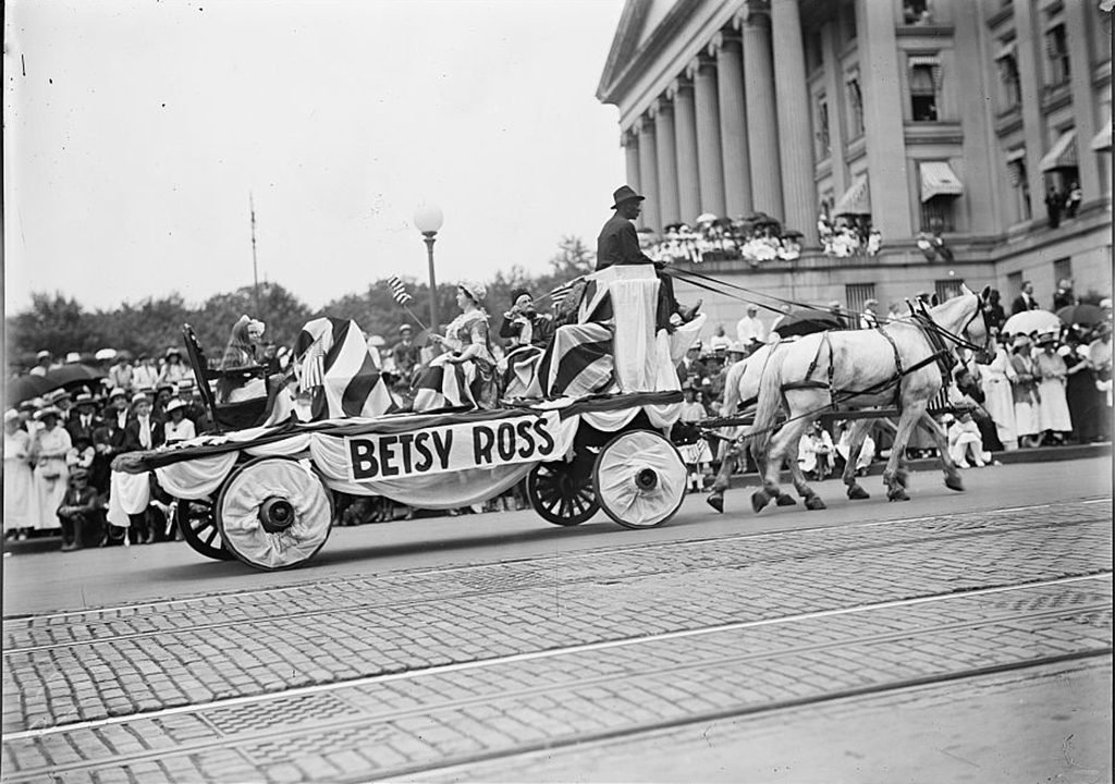 Betsy Ross float in DC's 1916 Fourth of July Parade. Photograph via Harris & Ewing Collection (Library of Congress).