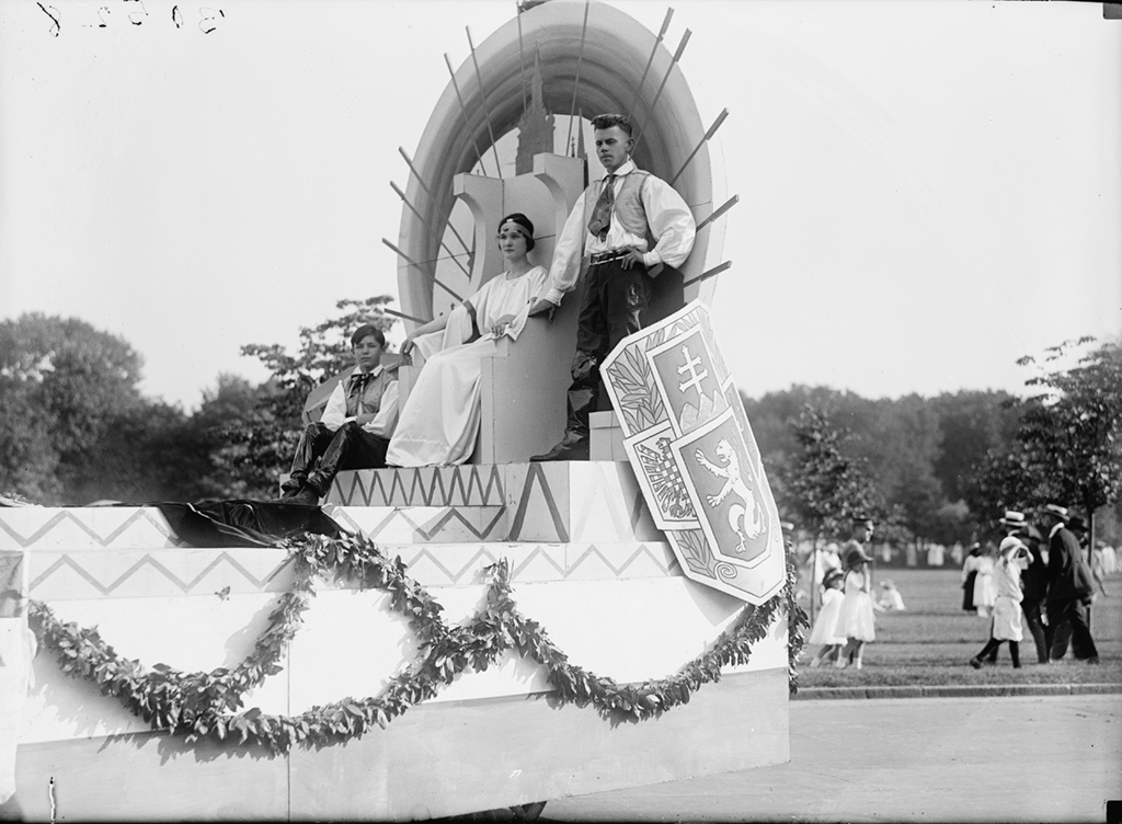 A parade float in 1919 representing Czechoslovakia. Photograph via Harris & Ewing Collection (Library of Congress).