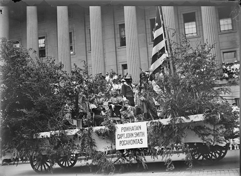 A Fourth of July float representing colonial Williamsburg and the settlement of Jamestown. Photograph via Harris & Ewing Collection (Library of Congress).
