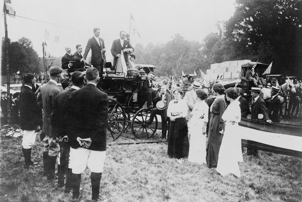 People and horse-drawn wagons at a Rock Creek Park horse show. National Photo Company Collection (Library of Congress).