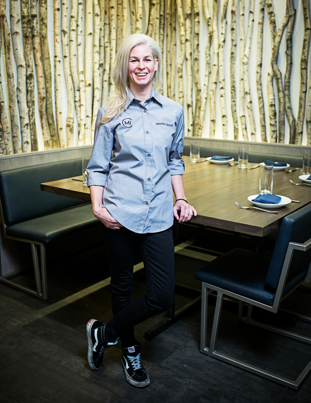 Chef Jennifer Carroll in her Mosaic district dining room. Photograph by Scott Suchman.
