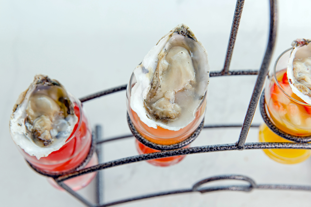 Oyster shooters at Suma. Photograph by Joe Cereghino.