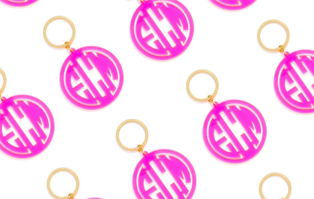 "Acrylic key chain, $38 at <a href=""http://www.baublebar.com"">baublebar.com</a>."