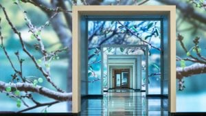 This Historic Building Just Turned Its Lobby into a Digital Cherry Blossom Bonanza