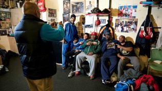 "Pictured, left to right: Michael Johnson, taking photo, Jeff ""Steady"" Johnson, Shakur Stevenson, Porter, Koroma, and Atiba Marshall. All photographs by Noah Willman."