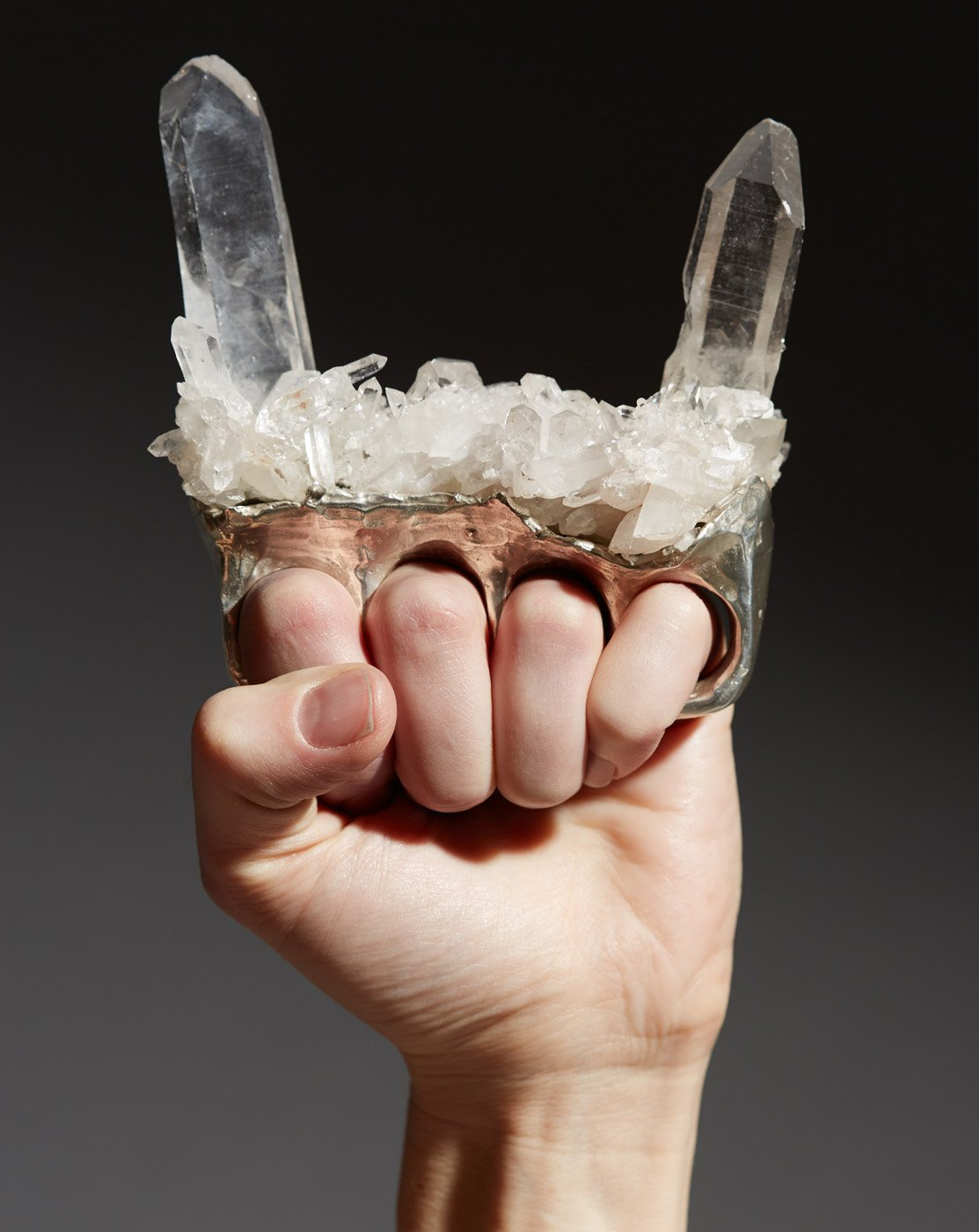 Devil Horns Crystal Brass Knuckles (Lefty), Deborah Baxter, 2015.