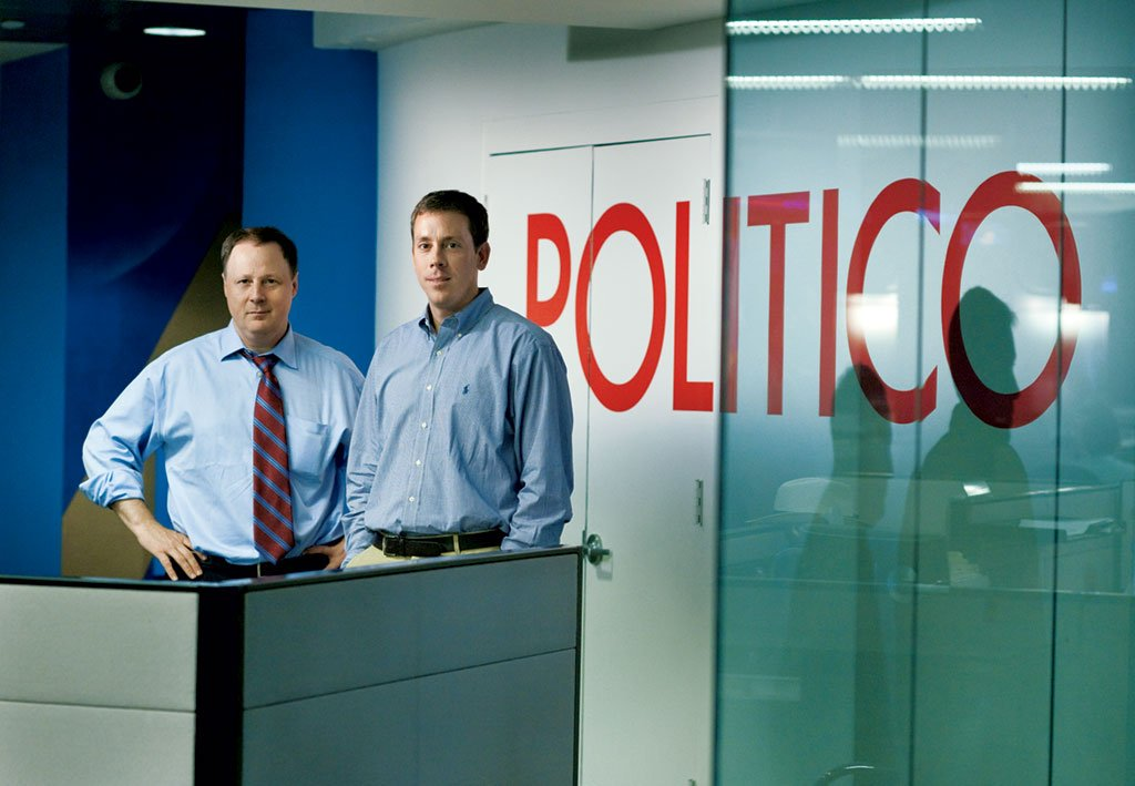 After nine years running <em>Politico</em> together, founding editors John Harris (left) and Jim VandeHei (right) have split up. Harris remains at <em>Politico</em> while VandeHei looks at future entrepreneurial ventures. Photograph by Daniel Rosenbaum/<em>The New York Times</em>/Redux.