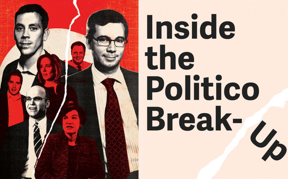 Politico Photo-illustration by Miles Donovan. Photographs of VandeHei, Harris, and Allbritton by Matthew Worden; Schwartz, Allen, and Kingsley by Brad Barket/Getty Images.