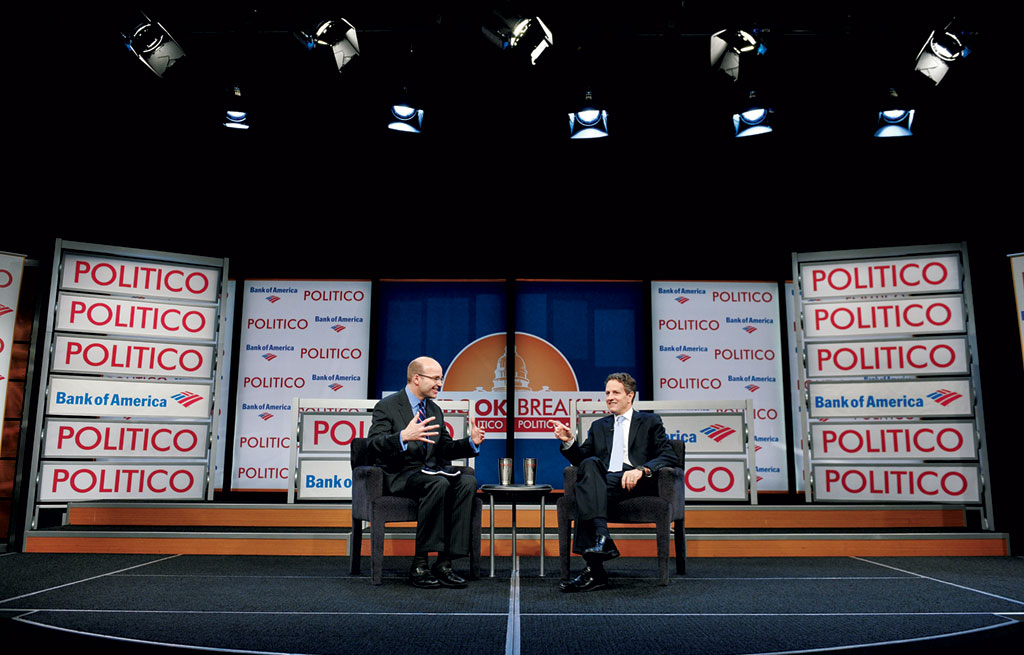 Playbook event with Mike Allen and former Treasury Secretary Tim Geithner. Photograph by Mandel Ngan/AFP/Getty Images.