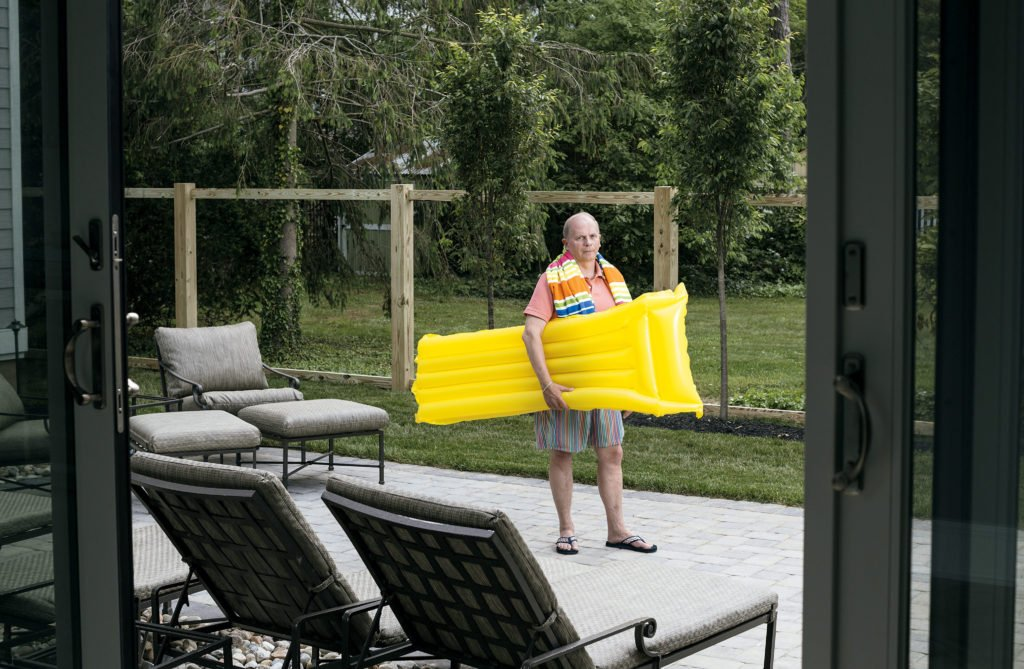 DC lawyer Rick Perry– here in his pool-free Rehoboth yard– sued the town after it enacted a moratorium on new pools.
