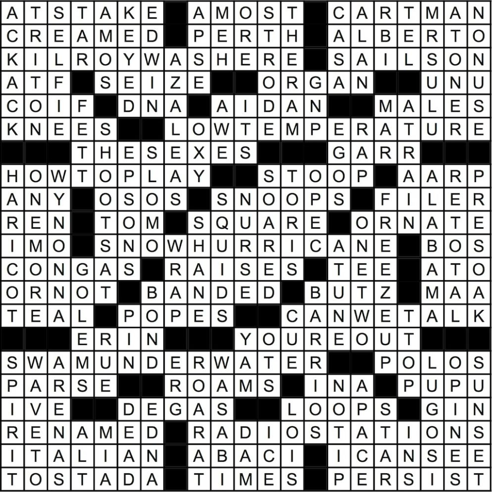 July 2016 Crossword Key