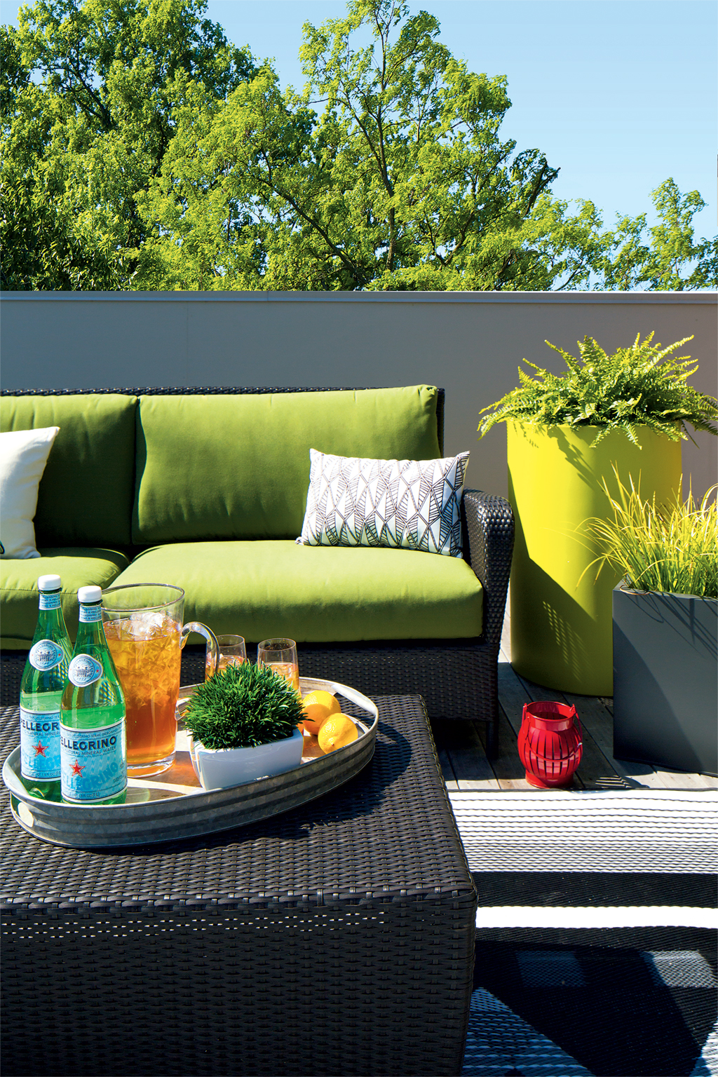 Patio furniture from Crate & Barrel and CB2 keep the outside area of this Arlington roof deck modern and fresh. Photographs by Dan Chung. (July 2016/Chesapeake Bay)
