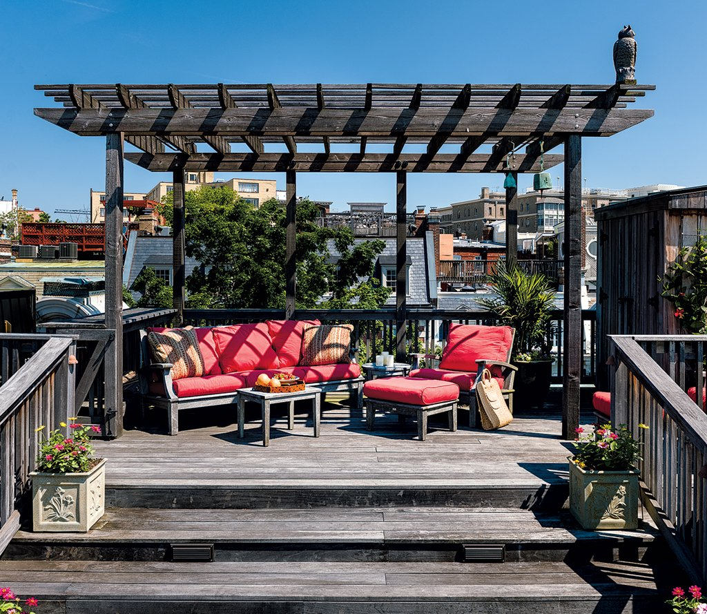 A three-story roof deck in Kalorama. Photograph by Andrew Propp.