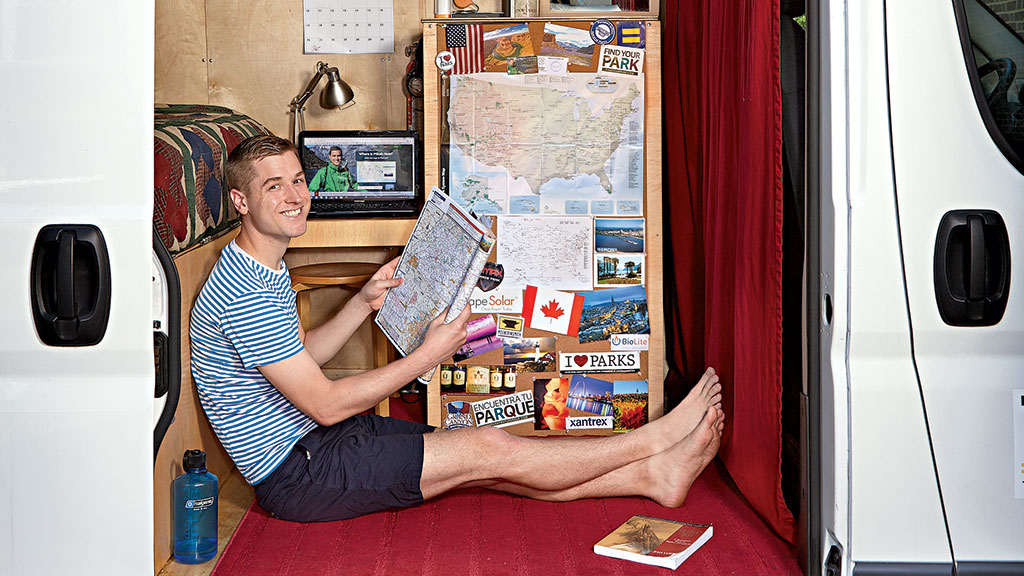In a van equipped for a three-year voyage, Mikah Meyer (above) and Andy Waldron set out to make a little history of their own. Photograph by Jeff Elkins.