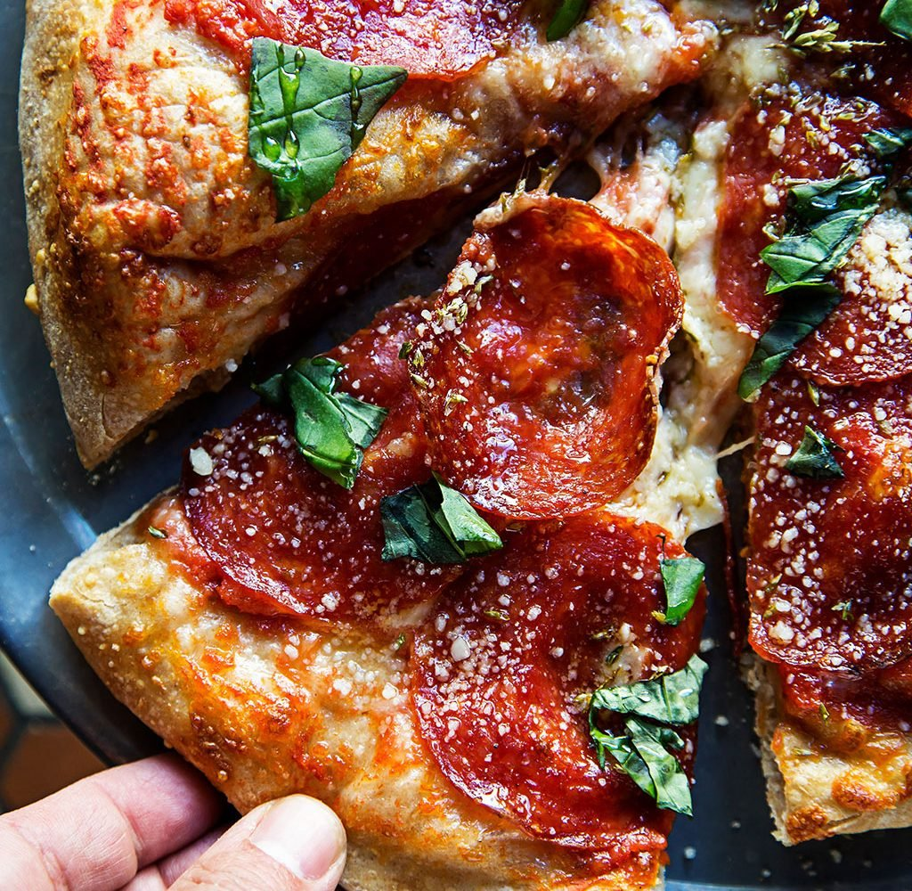 Pepperoni pizza with honey at All-Purpose Pizzeria. All photographs by Scott Suchman.