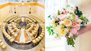 The Circular Ceremony Setup at This Gold Museum Wedding is Total Genius