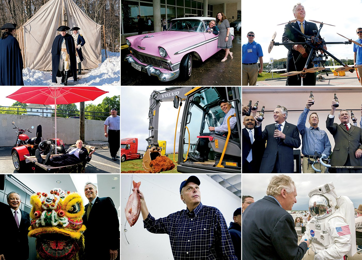 McAuliffe will show up anywhere to promote his state. Left to right, from top: shooting the AMC spy show Turn; touring Havana; testing drones at Virginia Tech; promoting crowd-funding and small businesses from a motorized hammock; breaking ground at a Volvo plant in Dublin, Virginia; announcing the Deschutes Brewery's East Coast operations in Roanoke; celebrating the start of Air China flights between Beijing and Dulles; campaigning with a red snapper in Norfolk; touring the NASA Langley Research Center in Hampton. Photographs of McAuliffe in <em>Turn</em> by Antony Platt/AMC; in Havana by Craig Carper/WCVE Richmond Public Radio/AP; testing drones by Matt Gentry/Roanoke Times/AP; on motorized hammock and breaking ground by Stephanie Klein-Davis/Roanoke Times/AP; at brewery by Heather Rousseau/Roanoke Times/AP; celebrating Air China flights by Bao Dandan/Xinhua/Alamy; with red snapper by Thé N. Pham/Virginian-Pilot/AP; touring NASA courtesy of NASA Photo/Alamy Stock Photo.