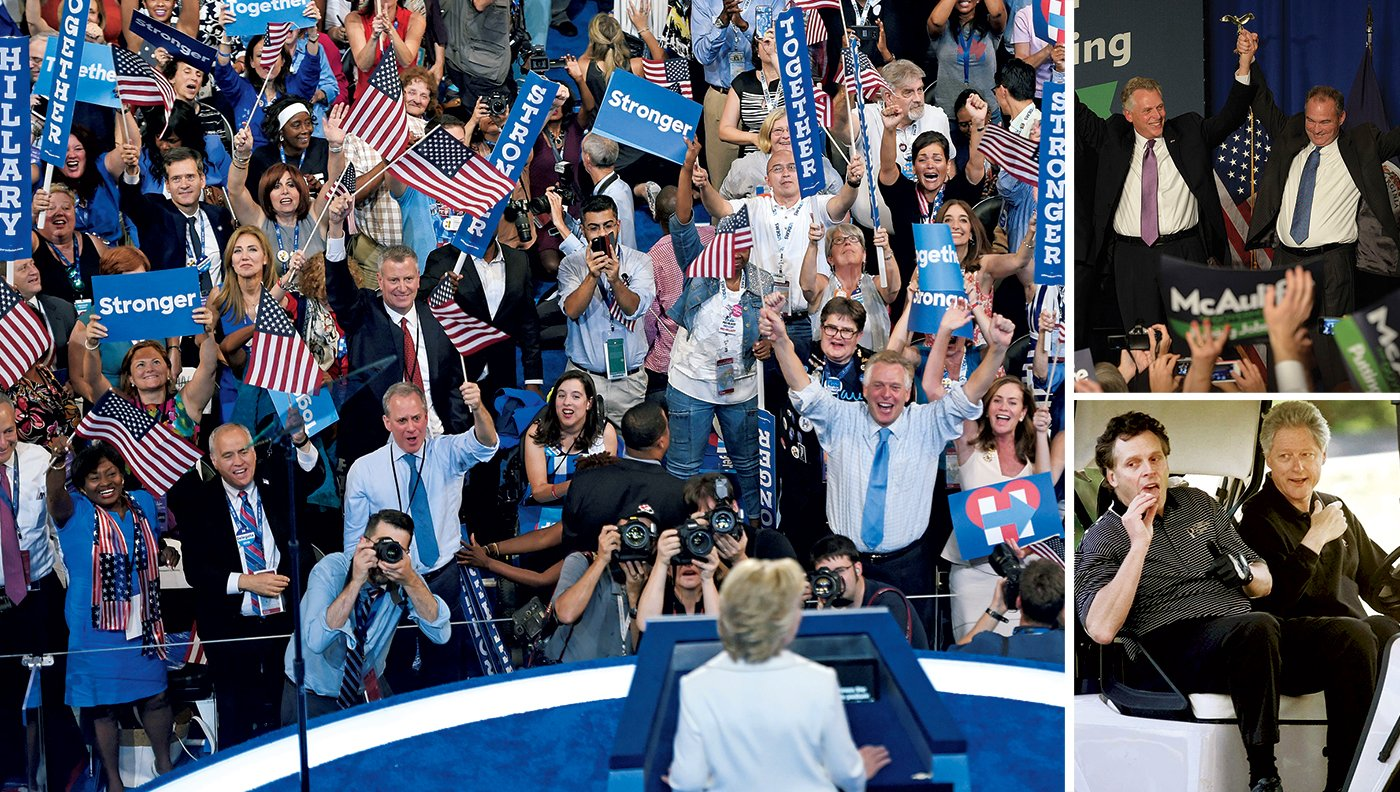 McAuliffe, First Friend to the Clintons for 20 years, goes wild at the Democratic convention (left). If Virginia helps elect Hillary and its own Tim Kaine (top right), McAuliffe may land a job in the administration.