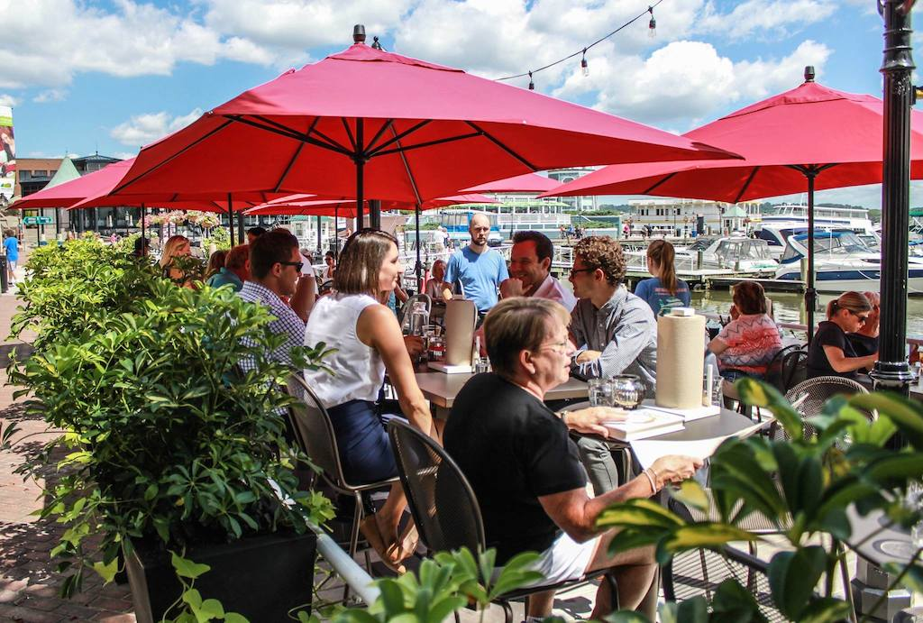 Awesome  pasta with king crab and warm Sardinian doughnuts with chocolate sauce for dunking Both the patio and indoor window tables offer pretty Potomac Views